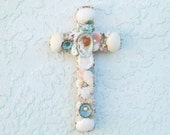 Shell Cross,Cross with Shells, Shell Crucifix, Seashell Cross,Pastel Seashells, Christian Priest Minister Gift, Religious Gift, Baby Gift