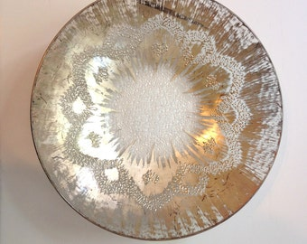 "Dorothy Thorpe Sterling Silver Glass Crystal Bowl 13.5"" Large"