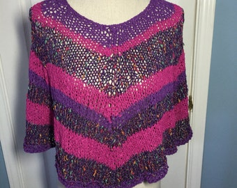 Cotton  Poncho, Hand Knit in Multicolor Yarn