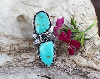 Rose & Royston Turquoise stone statement Ring Sterling Silver BOHO Ring, rustic, artisan, metalwork, handmade, Bohemian, Gypsy, size 10