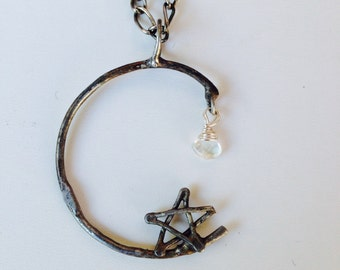 Moon and Star Necklace, Crescent Pentacle Moonstone Pendant