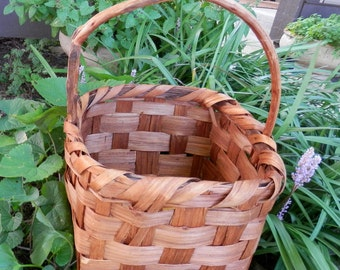 19th Century Antique Primitive/Farm House Chic/Rustic Handmade Cherry Wood Gathering Basket