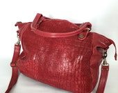 AW15 bag in berry red croc embossed leather
