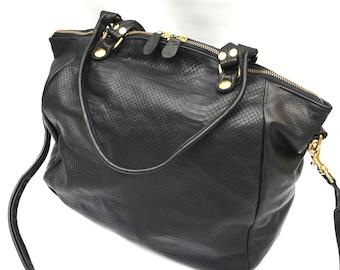 AW15 leather bag in  lizard // black