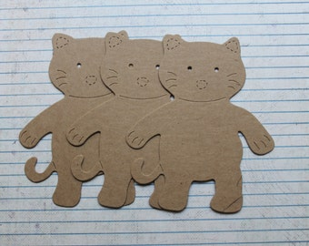 3 Bare chipboard cute kitten cat die cuts 3 7/8 inches wide x 4 5/8 inches tall
