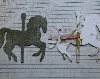 6 Carousel HORSE dark loden green, white/brown multi distressed paper over chipboard die cuts 4 x 3 3/8 inches [6GAI 016]