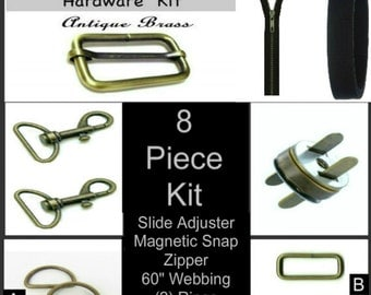 "1 SET - 1 1/2"" - 8 Piece Kit - ANTIQUE BRASS - Large Handbag Purse Hardware - Slide, Rings, Swivel Hooks, Zipper, Webbing and Magnetic Snap"