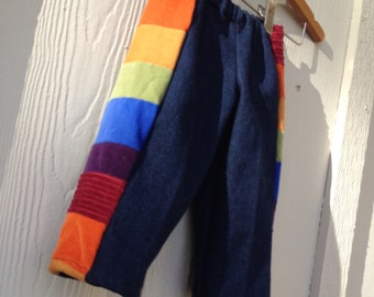 SALE...READY to SHIP..12-18 Months..Pants for Boys or Girls...baby  toddler.. rainbow corduroy and denim patchwork.