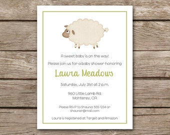 PRINTABLE - Lamb Baby Shower Invitation - Sheep - Boy - Girl - Gender Neutral - Farm