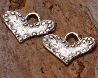 Two Dotted on the Edge Heart Charms in Sterling Silver, H-261A