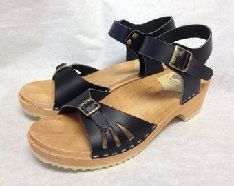 Black Vera Sandal with Buckled ankle strap