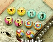 20% OFF SALE - Time Limited Offer - 20 Percent OFF - 10pcs 12mm Mixed Handmade Photo Glass Cabochon / Wooden Cabochon  -- Mch004D