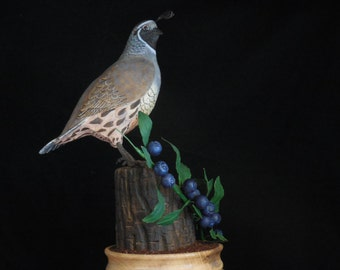 Woodcarving of a California Quail and habitat hand made