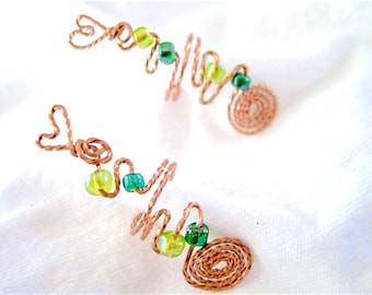 Ear Cuff - Green Yellow Glass Beaded Pair of Copper Metal Wire Wrapped
