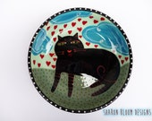 Ceramic Black Cat Hearts Bowl Love is in the Air Valentine Hand Painted by Sharon Bloom Designs