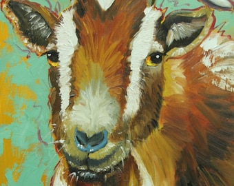 Goat portrait painting 13 12x16 inch original oil painting by Roz