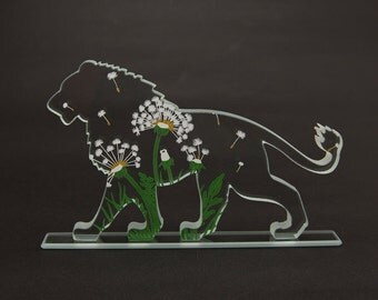 Dandy Lion Glass Sculpture Screen-Print Art Dandelion