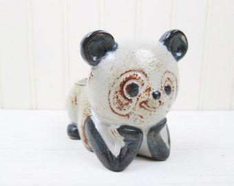 Vintage Panda Bear Candle Holder Stoneware Ceramic Made In Japan Retro Figurine
