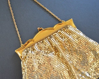SALE -Vintage Whiting and Davis Purse {Glamorous  Formal Evening Gold Mesh Handbag Bridal Clutch Cocktail Present for Her 1960's}