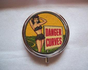pin up girl pill box retro vintage 1950's rockabilly vitamin case burlesque kitsch