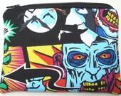 Funhouse Zipper Pouch - Clowns, Bats, Horror.