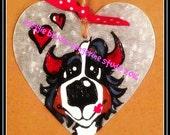 metal Handpainted Bernese Mountain Dog valentine ornament heart love devil hang tag Maggie Brudos whimsical art Tangerine Studio