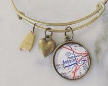Auburn University Map Charm Bangle Bracelet - Personalized Map Jewelry - Bangle - Auburn Tigers - Alabama - Graduation - Alumni - Student