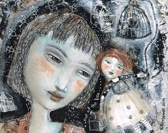 Free Shipping Print Mixed Media painting woman  free yourself cage muse fairy inspiration