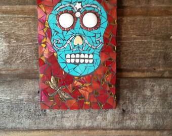 "Day Of The Dead Mosaic Art- Original Art- "" El Diablito"" Mixed Media Mosaic Handmade- Skull Art"