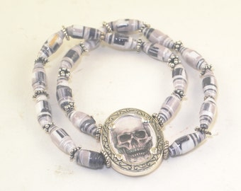 SKULL Paper Beads UPCYCLED Stretch Bracelet One Size Fits Most