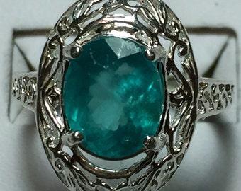 Neon Blue apatite silver ring
