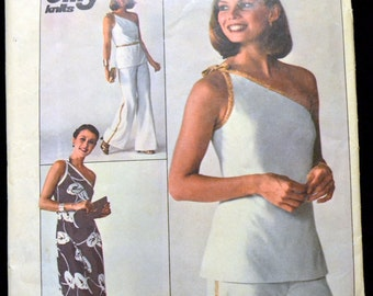 Vintage 70s Sewing Pattern Simplicity 7834 Misses' One Shoulder Dress or Top and Pants  Bust 36 Inches Size 14 Complete