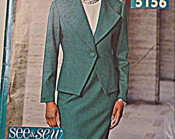 Sewing Pattern Butterick See & Sew 5156 Misses' Jacket, Skirt, and Top size 6-8-10, bust 30-31-32 inches Uncut Plus Size