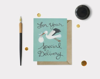 Special Delivery Stork New Baby Card - Baby Card - Shower Card - Baby Shower Card - New Parent Card - Expecting Card - Family Card - Blank