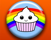 Happy Cupcake - 2.25 Inch Large Button / Magnet / Bottle Opener / Pocket Mirror / Keychain - Rainbow Cute Dessert - Sick On Sin