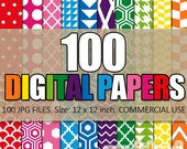 Digital paper bundle / 100 digital papers, rainbow colors / commercial use / patterned digital scrapbook papers