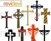 Christian crosses clipart - cross clip art - christian religious digital clipart - instant download - commercial use