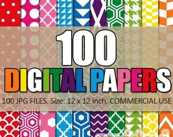 Commercial use digital papers bundle sale / 100 pattern background, rainbow colors / digital scrapbook papers