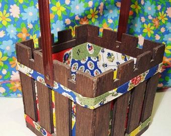 Vintage Fabric Lined Wooden Craft Basket