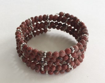 Bead memory wire bracelet - jasper gemstone silver accents