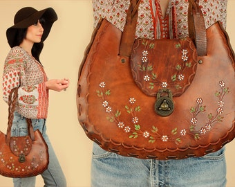 ViNtAgE 60's 70's Hand Tooled Purse LARGE Floral Braided LEATHER Handbag // Hand Painted flowers Artisan // Braided Straps // Hippie BoHo