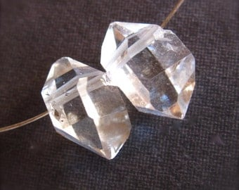 AA Clear Top Drilled Herkimer Diamond beads - 12mm X 8mm - pair