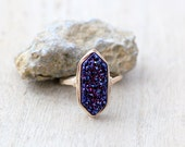 Druzy Hexagon Gold Ring , Blue Violet Statement Gemstone Ring , Gold , Sterling Silver , Rose Gold , Gift Ideas - Inkwell