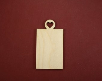 Gift Tag with Classic Heart Shape Unfinished Wood Laser Cut Shapes Crafts