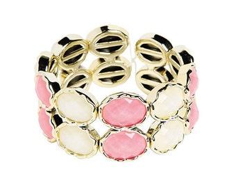 Oval Pink & White Bracelet