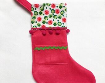Felt Stocking, Pocket Stocking, Pocket Peeper - Candy Coated, Hot Pink, Polka Dots
