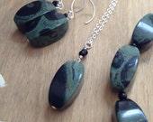 RESERVED - Kambaba Jasper Earrings, Necklace and Bracelet Set . Natural Stone Jewelry Set