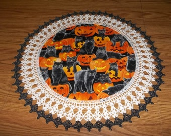 Halloween Doily Crocheted Black Cat Doily Pumpkins Fabric Doily Best Doilies Table Topper Crocheted Edging Handmade Lace Centerpiece