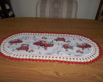 Crochet Table Runner, Christmas Runner, Off to Grandmas, Best Doilies, Handmade, Crocheted Edge, Centerpiece, Table Topper, Dresser Scarf
