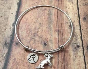German Shepherd initial bangle - GSD bangle, police dog jewelry, GSD jewelry, silver German Shepherd bracelet, K9 jewelry, police dog bangle